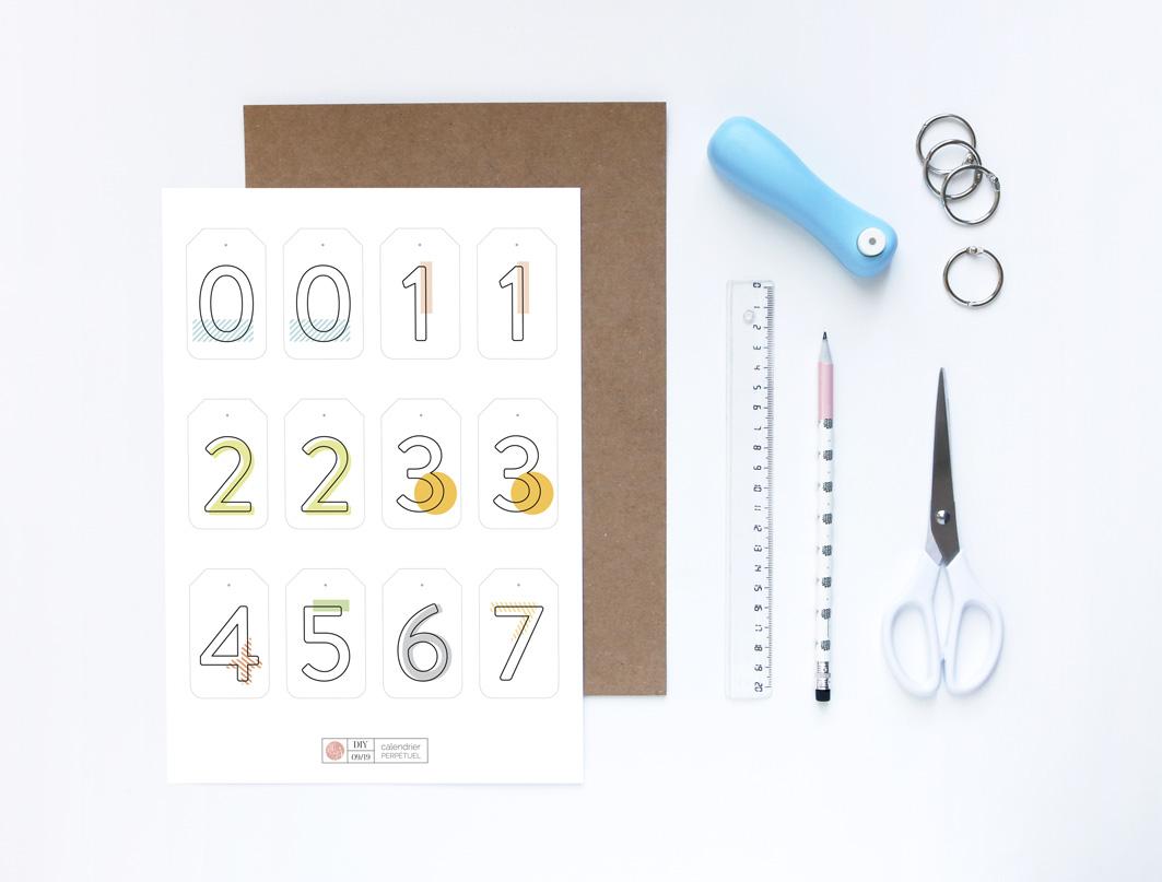 Joli Jour J - DIY Calendrier perpétuel en papier : les fournitures